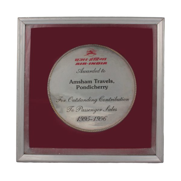 Award from Air India for Outstanding contribution_1995-1996