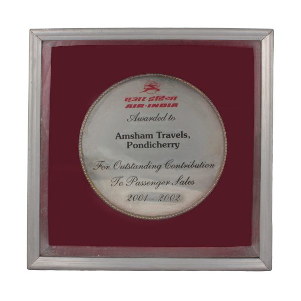 Award from Air India for Outstanding contribution_2001-2002
