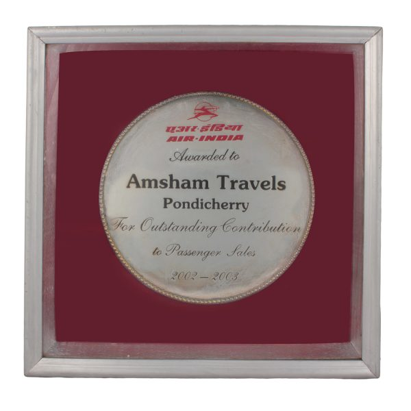 Award from Air India for Outstanding contribution_2002-2003