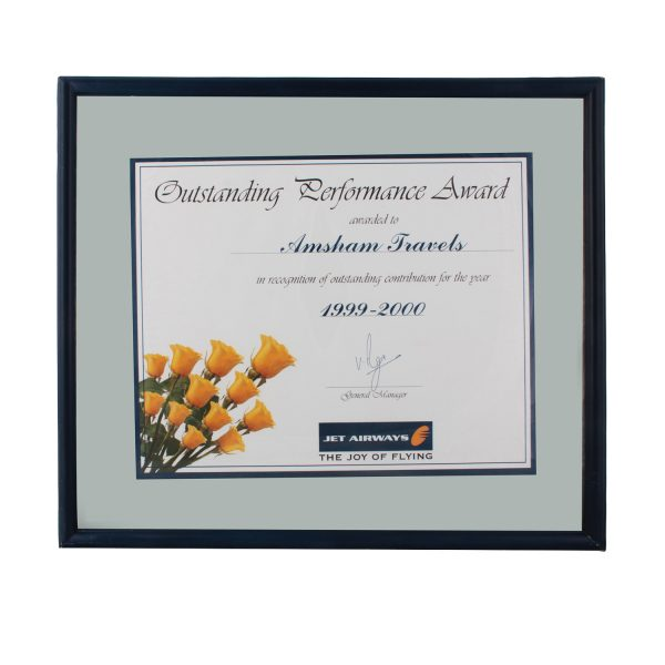 Outstanding Performance award from Jet Airways_1999-2000