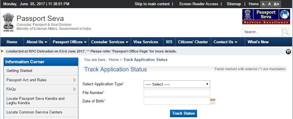 passport india gov in track status