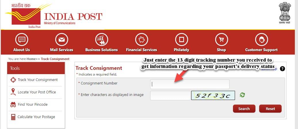 speed post passport tracking